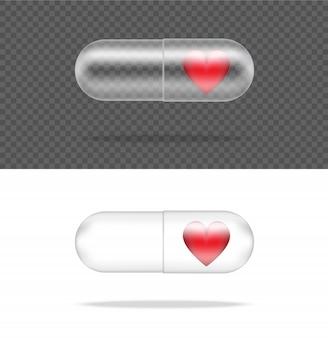 Realistische transparante pil geneeskunde capsule paneel met hart