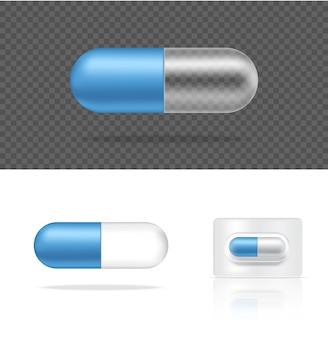 Realistische transparante pil geneeskunde capsule. tabletten medisch en gezondheidsconcept.