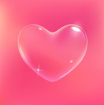 Realistische transparante roze vectorzeepbel gevormd als hart romantisch glanzend zeepachtig hartvalentijnskaart…