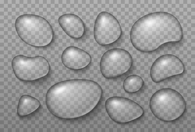 Realistische transparante waterdruppels aqua druppelen op transparante achtergrond