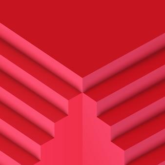 Realistische trendy rode minimalistische trap architectuur achtergrond