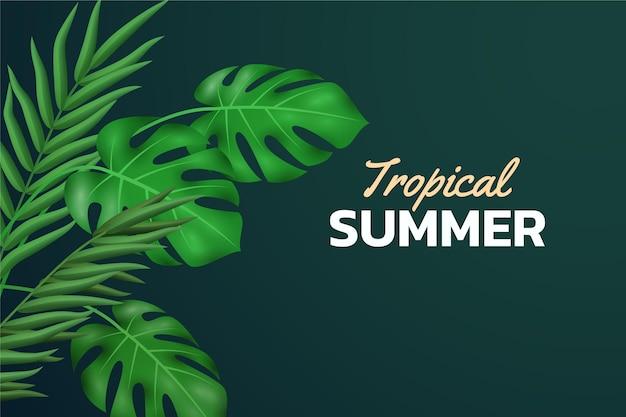 Realistische tropische bladeren achtergrond