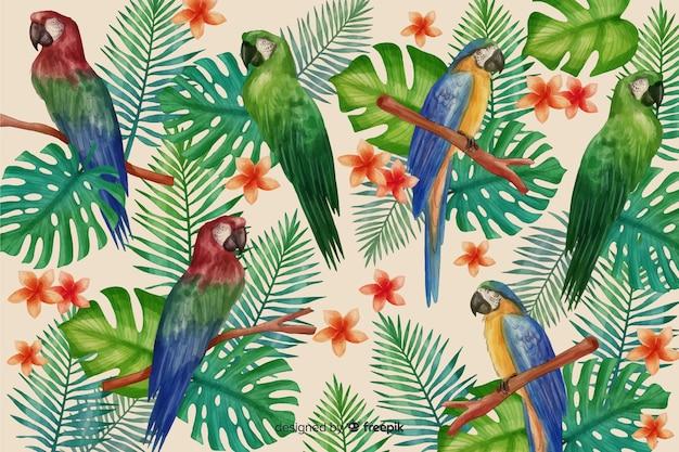 Realistische tropische bladeren en vogels achtergrond