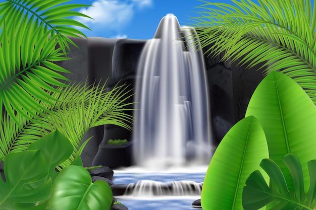 Realistische tropische waterval met bladerenillustratie