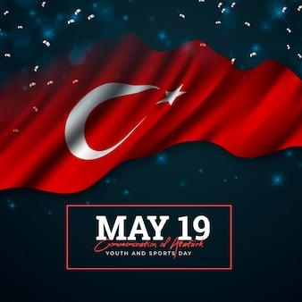 Realistische turkse herdenking van ataturk, jeugd en sportdag illustratie
