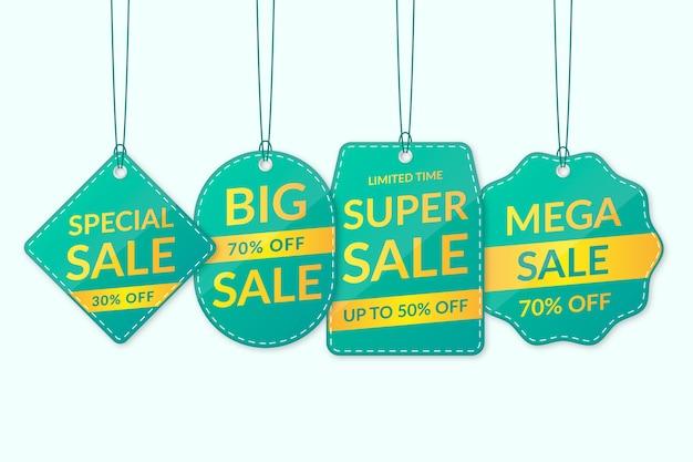 Realistische turquoise hangende verkooplabelcollectie
