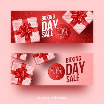Realistische tweede kerstdag banners sjabloon
