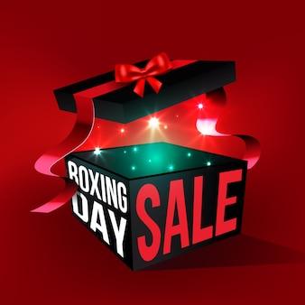 Realistische tweede kerstdag verkoop met open geschenkdoos