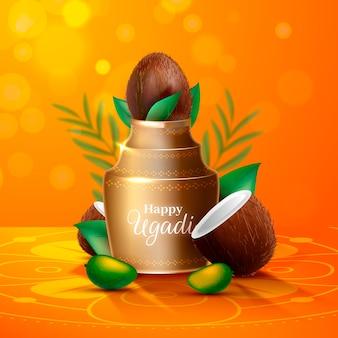 Realistische ugadi vaas met helften van kokosnoot