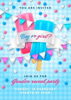 Realistische uitnodigingssjabloon voor genderonthulling