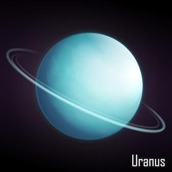 Realistische uranus-planeet die op donkere achtergrond wordt geïsoleerd