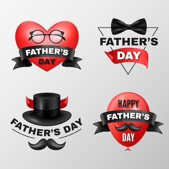 Realistische vadersdag badges collectie