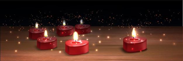 Realistische valentijn kaarsen illustratie Gratis Vector