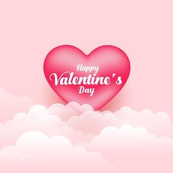 Realistische valentijnsdag 3d-hart en wolken