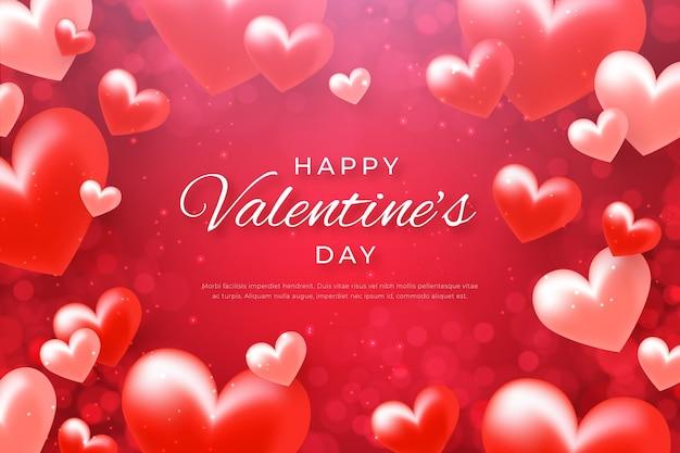 Realistische valentijnsdag achtergrond met hartjes
