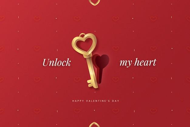 Realistische valentijnsdag achtergrond met sleutel