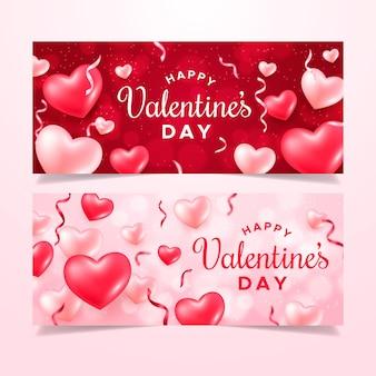 Realistische valentijnsdag banners sjabloon