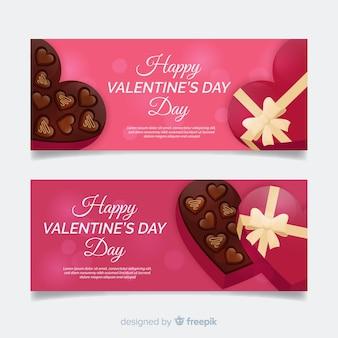 Realistische valentijnsdag banners