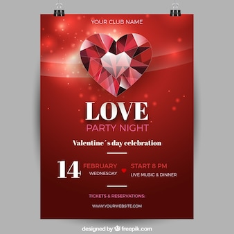 Realistische valentijnsdag flyer / poster sjabloon