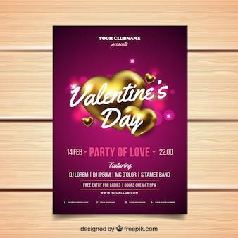 Realistische valentijnsdag flyer / poster