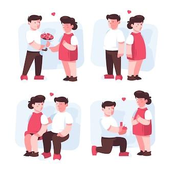 Realistische valentijnsdag paar illustratie