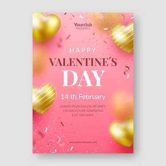 Realistische valentijnsdag partij flyer / poster sjabloon
