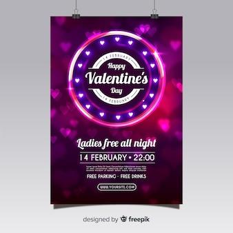 Realistische Valentijnsdag partij flyer sjabloon
