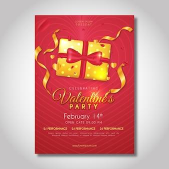 Realistische valentijnsdag partij flyer