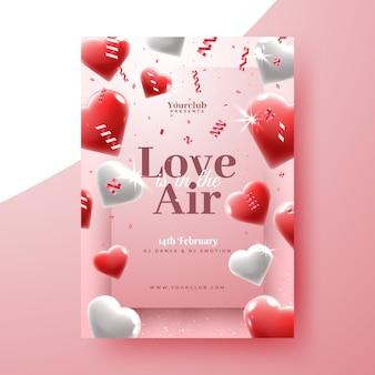 Realistische valentijnsdag partij folder sjabloon