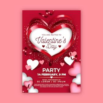 Realistische valentijnsdag partij poster Gratis Vector