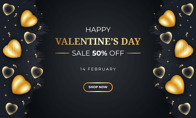 Realistische valentijnsdag verkoop banner met hart
