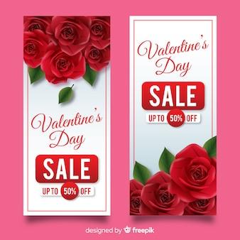 Realistische valentijnsdag verkoop banners