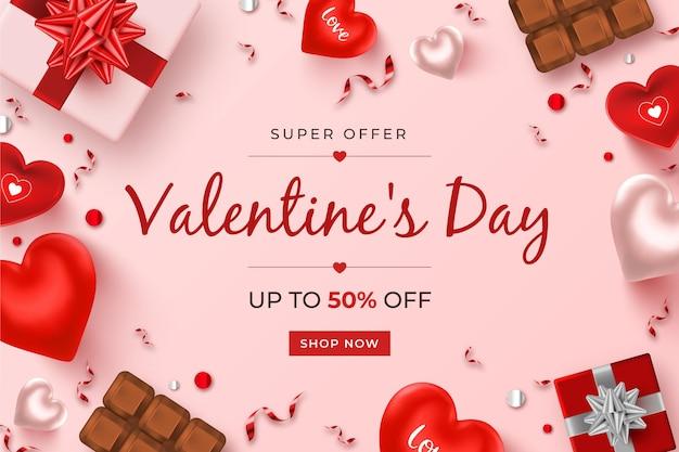 Realistische valentijnsdag verkooppromo