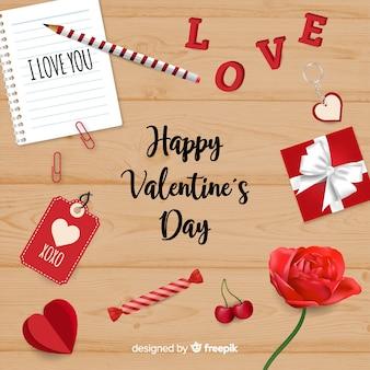 Realistische valentijnskaartachtergrond