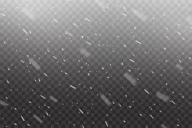 Realistische vallende sneeuw, winterkerstsneeuwval of sneeuwstorm op transparante vectorachtergrond. sneeuwval van witte sneeuwvlokken en vallende sneeuwvlokken in stormoverlay-effect, kerstmis of nieuwjaar koude lucht
