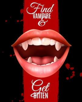 Realistische vampire mond poster