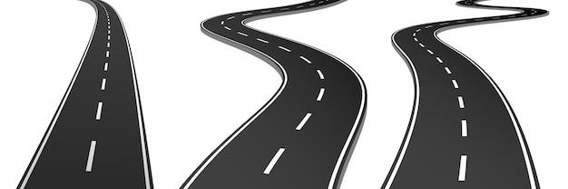 Realistische vector 3d-set van gebogen wegen en snelwegen. vector afbeelding. snelweg weg. abstracte illustratie. lijn pictogram. vector illustratie ontwerp.