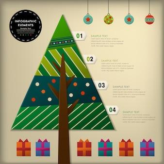 Realistische vector abstracte 3d papieren kerstboom infographic elementen