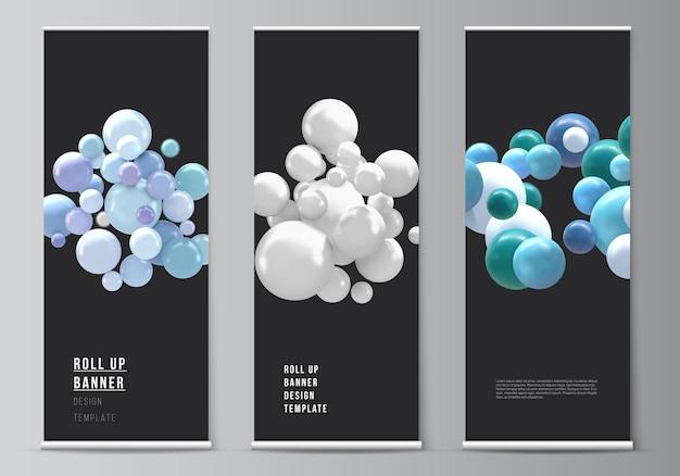 Realistische vector achtergrond met veelkleurige bollen, bubbels