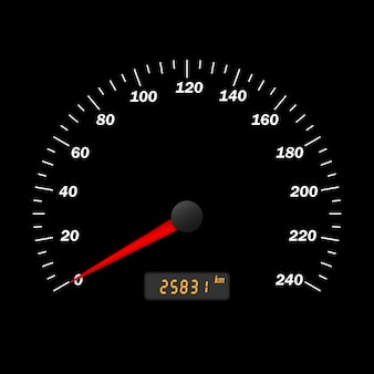 Realistische vector auto snelheidsmeter interface. dashboard-paneel