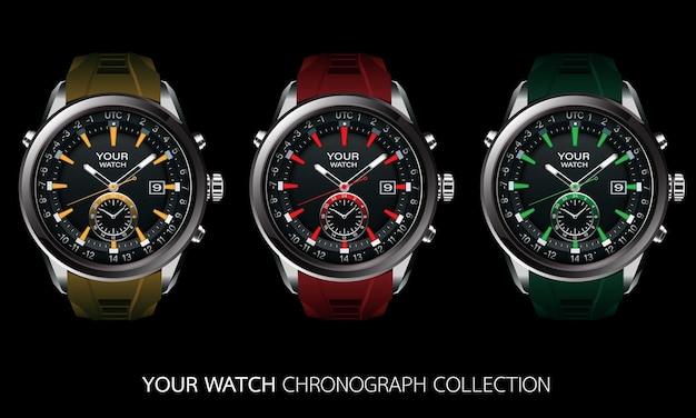 Realistische vector collectie van klok horloge chronograaf grijs staal zwart dashboard gezicht wit nummer tekst geel rood groen luxe elegantie