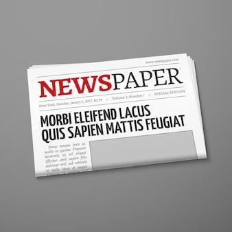 Realistische vector dagelijkse krant voorpagina