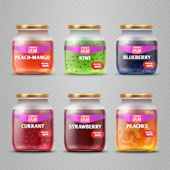 Realistische vector fruit jam glas potten geïsoleerd. gekleurde jam in de illustratie van de kruikcontainer