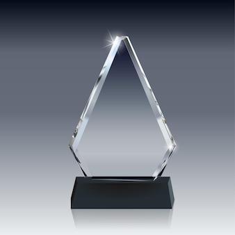 Realistische vector glass trophy award