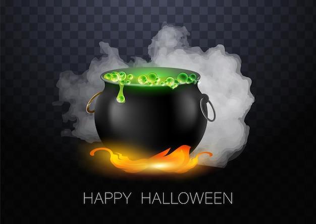 Realistische vector halloween zwarte heksenketel met groen brouwsel met ogen. blij gezicht halloween pompoen en ketel geïsoleerd op een witte achtergrond.