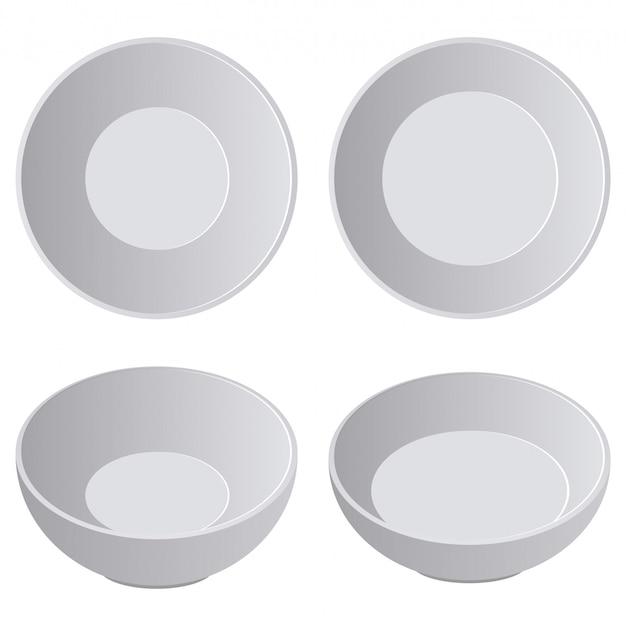 Realistische vector het ontwerpillustratie van de porseleinplaat die op wit wordt geïsoleerd