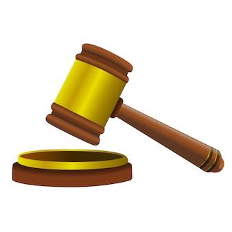 Realistische vector illustratie houten rechter hamer van de voorzitter voor arbitrage van zinnen en rekeningen.