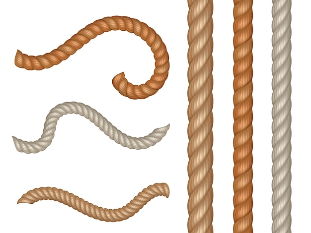 Realistische vector nautische kabels en touw