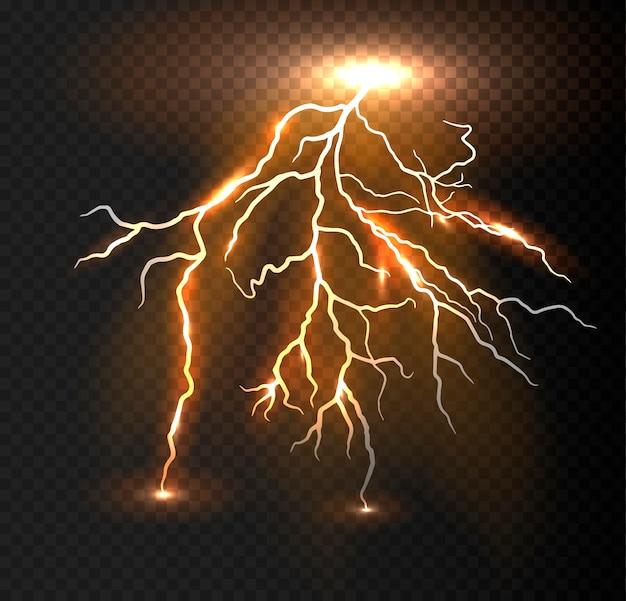 Realistische vector oranje bliksem.