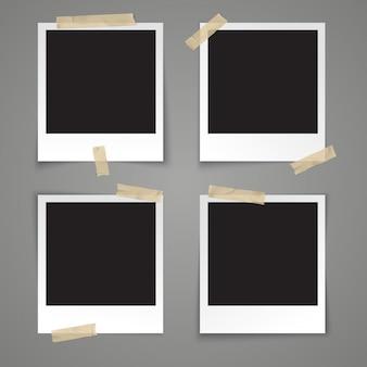 Realistische vector sjabloon leeg fotokader met plakband op grijze achtergrond